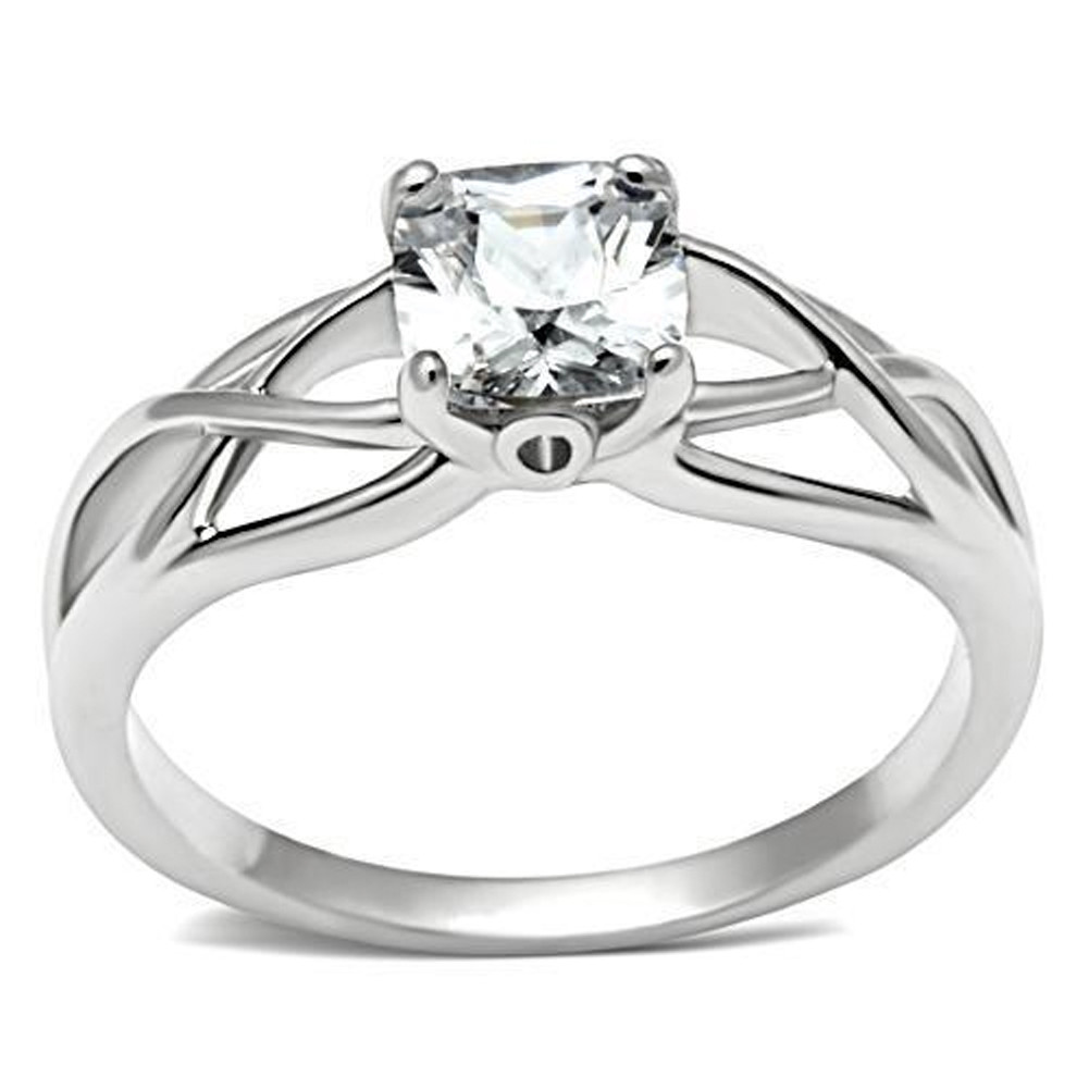 Elite Intertwined Rhodium Solitaire Stone Commitment Ring