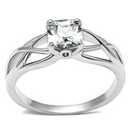 Elite Intertwined - Rhodium Solitaire Stone Commitment ring - Marriage / Engagement Band (Silver Color)