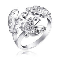 Butterfly Ring - Adjustable - One Size Fits All (.925 Sterling Silver Electroplated Butterflies Ring)