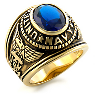 Navy - USN Military Ring (Gold with Blue Stone)