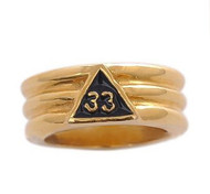 Freemason Ring / Masonic Ring - Gold Plated 33rd Degree Grooved Band for Masons