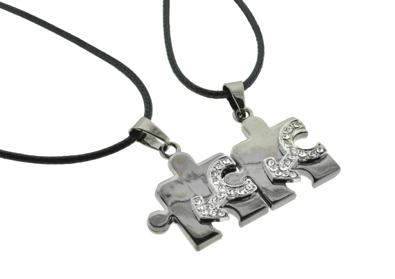 2pc Bling Set - Male CZ Puzzle Steel & Mars Symbol Pendants - Men's Gay Pride Jewelry Set Necklaces