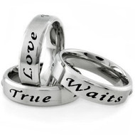 True Love Waits - Promise Ring (6mm) 316L Stainless Steel with CZ stone