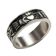 Men's Claddagh Irish Celtic Ring (Heart & Crown) - Top Quality Steel Commitment Ring