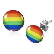 Rainbow Flag - LGBT Gay and Lesbian Pride Earrings (Round) - Gay earring Set