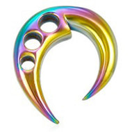 Rainbow Ear Taper Expander w/ Triple hole design. - GLBT Gay & Lesbian Pride Earring (Ear Plug/ Body Jewelry)