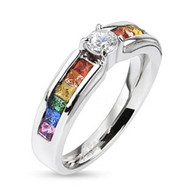 Rainbow Ring with CZ Middle Stone - Lesbian & Gay Engagement Wedding Ring