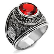 Marines - USMC Military Ring (Stainless Steel with Red Stone)