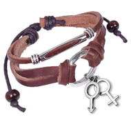 Leather & Copper Leather Wristlet w/ Hanging Male & Female Symbol Charms - Brown LGBT Supporter Bracelet
