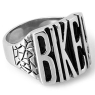 Biker Ring - Stainless Steel Motorcycle Band w/ Biker text