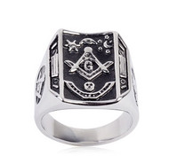 Freemason Ring / Masonic Ring Bent Rectangle Mason Design - Enamel & Steel Band