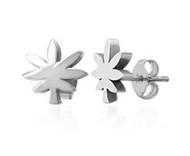 Marijuana Cut Out Style Earrings - Steel Pot Leaf Stud Earrings (Ear/Body Jewelry)