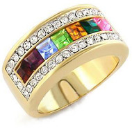 Gold Rainbow and Clear CZ Ring - Lesbian & Gay Pride Ring w/ CZ Stones