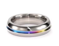 Rainbow Anodized Plain Ring - Gay & Lesbian Pride Stainless Steel Ring