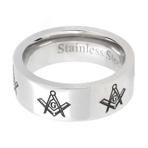 Mason Silver Color and Black Enamel Simple Band - Freemason Ring / Masonic  Ring
