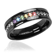 Jet Black Titanium Full Clear & Rainbow String - Lesbian & Gay Engagement Wedding Ring