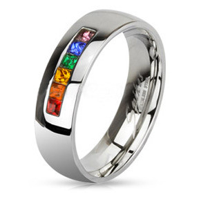 Rainbow String Smooth Round Top Ring Lesbian And Gay Wedding Ring