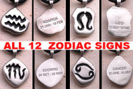 Horoscope Zodiac Birth Pendant w/ Black PVC Rope Chain Necklace - Choose from all zodiac signs!