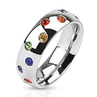 A Scattered Full Rainbow Ring - LGBT Gay and Lesbian Pride Ring w/ CZ Stones