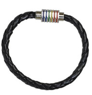 Black Leather Braided Magnetic Rainbow Lesbian & Gay Pride Bracelet - LGBT Wristlet