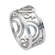 Venus Female Symbol Carved Ring -  Steel Lesbian Rings