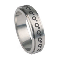 Venus Female Symbol Steel Spinner Ring -  Steel Lesbian Pride Ring