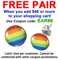 FREE with $40 or more - Use Coupon Code: EAR99 - Rainbow Flag - LGBT Gay and Lesbian Pride Earrings (Round) - Gay earring Set