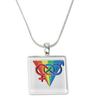 Rainbow Pride LGBT Square Glass Pendant with Chain. GLBT Pride Jewelry and Accessories.