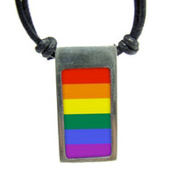 Rainbow Gay Pride Vertical Flag Pendant - Pewter Necklace - LGBT Gay and Lesbian Pride Necklace