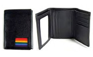 (Rainbow Square Flag Design) Black Leather Trifold Wallet - Gay Pride LGBT Lesbian Pride Gifts & Money Holders