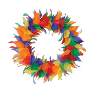 Image of 12 Inch Rainbow Gay Pride Holiday Feather Wreath - LGBT Gay & Lesbian Pride