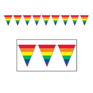 Image of 12 Foot Rainbow Gay Pride Flag (Triangle Stripe) Party Banner - LGBT Gay and Lesbian Pride Party Supplies