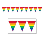 12' Foot Rainbow Gay Pride Flag (Triangle Stripe) Party Banner - LGBT Gay and Lesbian Pride Party Supplies
