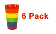 6 Pack - Rainbow Pride Reusable Plastic Cups (16oz) - LGBT / GLBT Gay & Lesbian Party Supplies