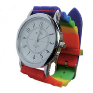 Gay Pride Wrist Watch with Rainbow Flag Band - LGBT Gay and Lesbian Pride Accessories