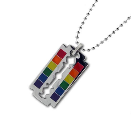 Lesbian Gay Pride LGBT Necklace Grooved Rainbow Cylinder Pendant Pride Shack