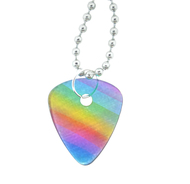 Gay Rainbow Guitar Pick Pendant - Musicians LGBT Gay and Lesbian Pride Necklace