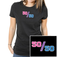 """50/50"" (Bisexual Pride Flag Colors) - UNISEX - Comical Bi Pride Black T-Shirt - LGBT Pride Clothing & Apparel"