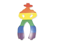 Gay Cowboy - Rainbow Gay Pride Sticker 1.5x3 inch - Small LGBT Male Gay Pride Decal