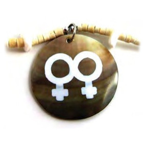 Painted Double Female Round Bead Brown Shell Necklace - LGBT Lesbian Pride Jewelry