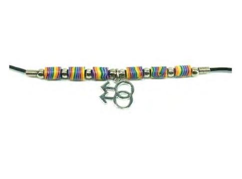 Gay Double Male Wavy Rainbow Beaded Ceramic Necklace - LGBT Gay Pride Jewelry