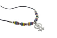 Lesbian Double Female Wavy Rainbow Beaded Ceramic Necklace -  LGBT Lesbian Pride Jewelry
