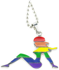 "Cut Out Shape Hot Girl Rainbow Necklace with 18"" chain - LGBT Steel Lesbian Pride Jewelry"