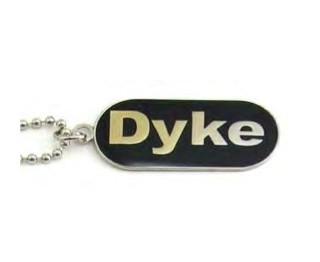"Lesbian ""Dyke"" Comical Lesbian Pride Black Dog Tag Necklace - LGBT Gay and Lesbian Pride Jewelry"
