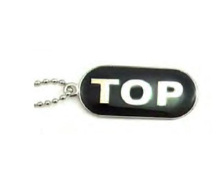 """Gay """"Top"""" Comical Gay Pride Black Dog Tag Necklace - LGBT Men's Gay Pride Jewelry"""