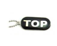 "Gay ""Top"" Comical Gay Pride Black Dog Tag Necklace - LGBT Men's Gay Pride Jewelry"