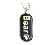"Pendant ""Bear"" with Paw Comical Gay Pride Black Dog Tag Necklace - LGBT Men's Gay Pride Jewelry"