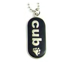 """Pendant """"Cub"""" with Paw Comical Gay Pride Black Dog Tag Necklace - LGBT Men's Gay Pride Jewelry"""