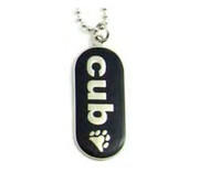 "Pendant ""Cub"" with Paw Comical Gay Pride Black Dog Tag Necklace - LGBT Men's Gay Pride Jewelry"