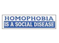 """Homophobia is a Social Disease"" Blue Bumper Sticker (2.5 x 9.25 inch) - LGBT Male Gay Pride Car / Vehicle Decal"